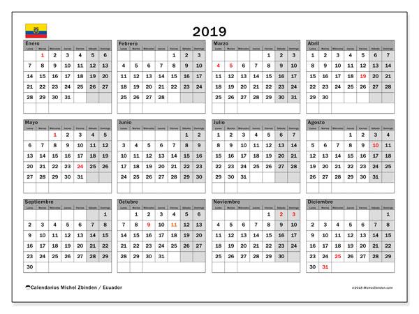 Calendario 2019, con los días feriados para Ecuador. Calendario para imprimir gratis.