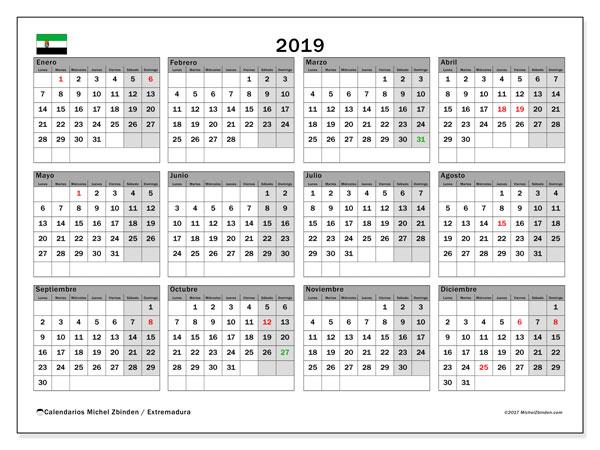 Calendario 2019, con los días festivos de Extremadura. Calendario para el mes para imprimir gratis.