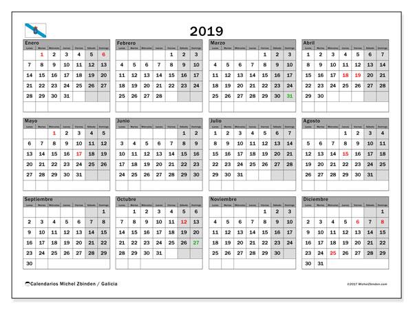 Calendario 2019, con días feriados en Galicia. Calendario para imprimir gratis con días festivos.