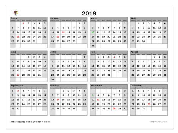 Calendario 2019, con los días feriados en Illinois. Calendario para imprimir gratis.