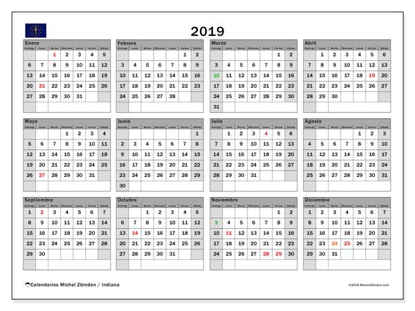 Calendario 2019, con los días feriados de Indiana. Calendario gratuito para imprimir.