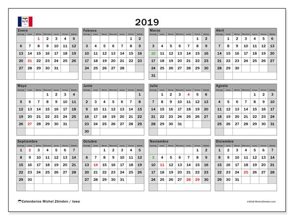 Calendario 2019, con los días feriados en Iowa. Planificación para imprimir gratis.