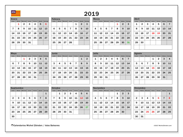 Calendario 2019, con días feriados en las Islas Baleares. Calendario vacaciones y festivos para imprimir gratis.