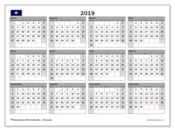 Calendario 2019, con los días feriados en Kentucky. Calendario imprimible gratis.