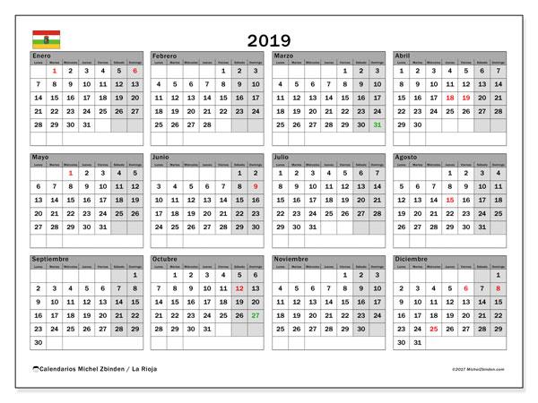 Calendario 2019, con los días festivos de La Rioja. Planificación para imprimir gratis.