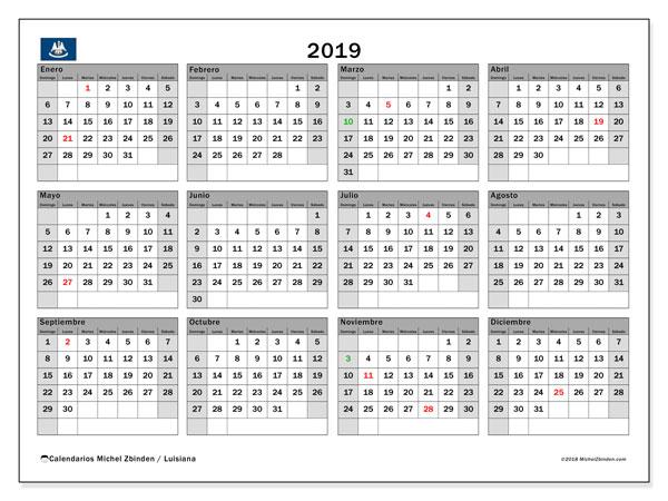 Calendario 2019, con los días feriados en Luisiana. Calendario imprimible gratis.