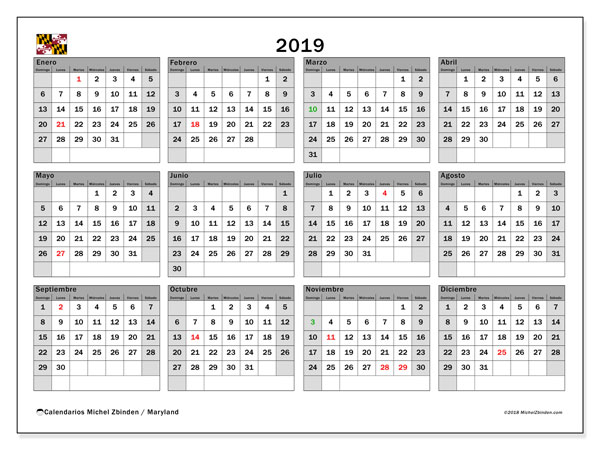 Calendario 2019, con días feriados en Maryland. Calendario para imprimir gratis con días festivos.