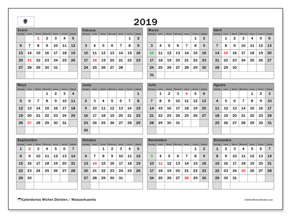 Calendario Massachusetts, 2019