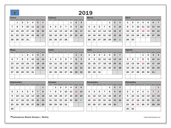 Calendario 2019, con los días festivos de Melilla. Calendario para el mes para imprimir gratis.