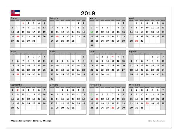 Calendario 2019, con los días feriados de Misisipi. Almanaque para imprimir gratis.