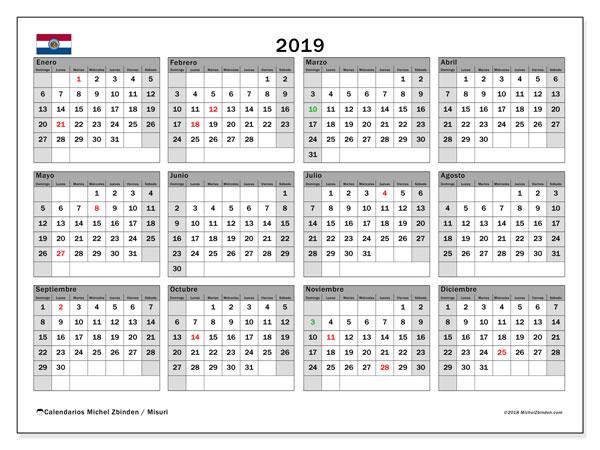 Calendario 2019, con días feriados en Misuri. Calendario vacaciones y festivos para imprimir gratis.