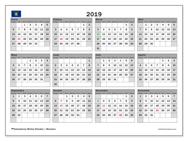 Calendario 2019, con días feriados en Montana. Calendario vacaciones y festivos para imprimir gratis.
