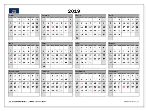 Calendario 2019, con los días feriados de Nueva York. Planificación para imprimir gratis.