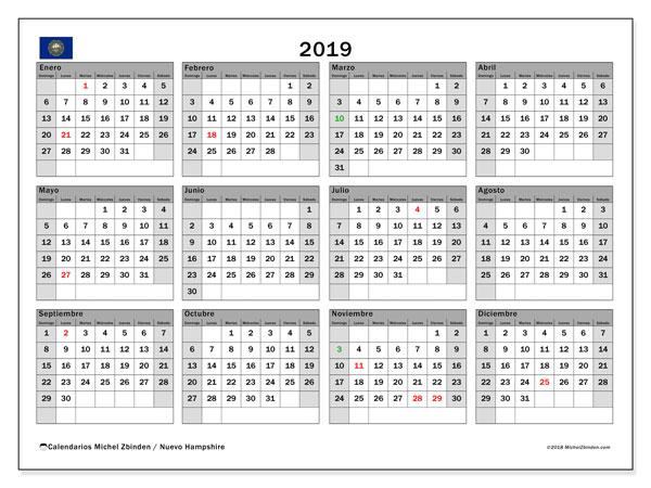 Calendario 2019, con los días feriados de Nuevo Hampshire. Calendario imprimible gratis.