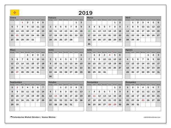 Calendario 2019, con los días feriados en Nuevo México. Almanaque para imprimir gratis.