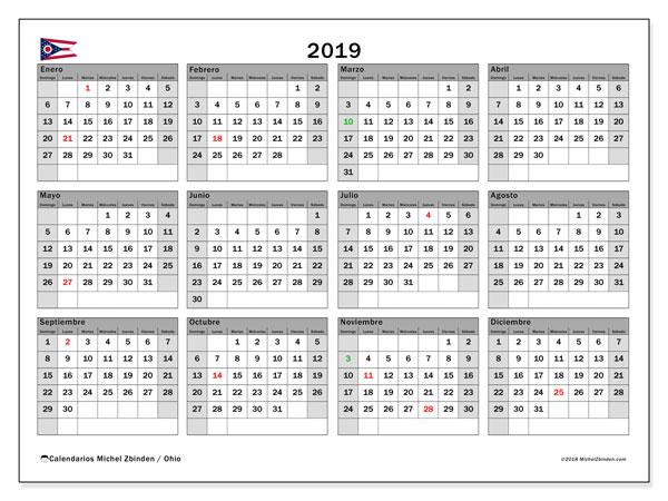 Calendario 2019, con los días feriados en Ohio. Calendario gratuito para imprimir.
