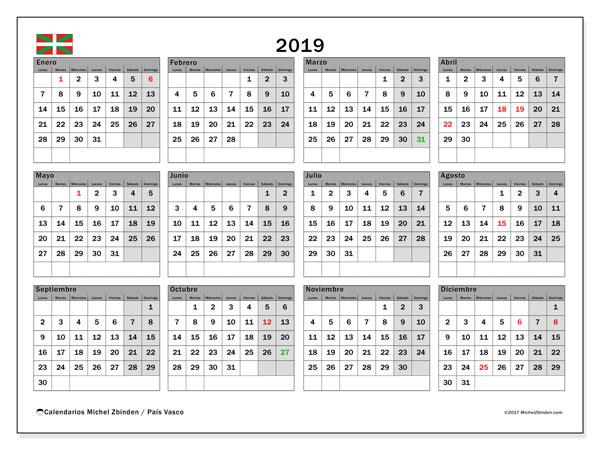 Calendario 2019, con los días festivos del País Vasco. Almanaque para imprimir gratis.