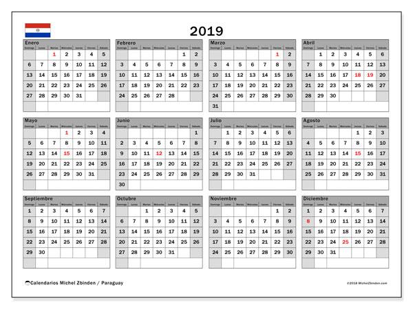 Calendario 2019, con días feriados en Paraguay. Calendario vacaciones y festivos para imprimir gratis.