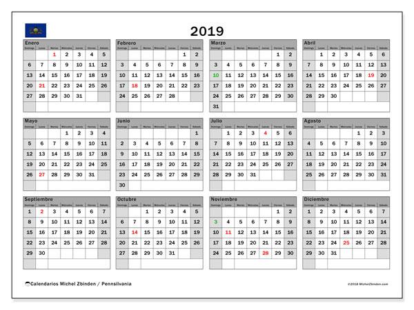 Calendario 2019, con los días feriados en Pennsilvania. Calendario mensual para imprimir gratis.