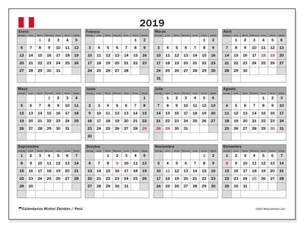 Calendario 2019, con los días feriados para Perú. Calendario para el mes para imprimir gratis.