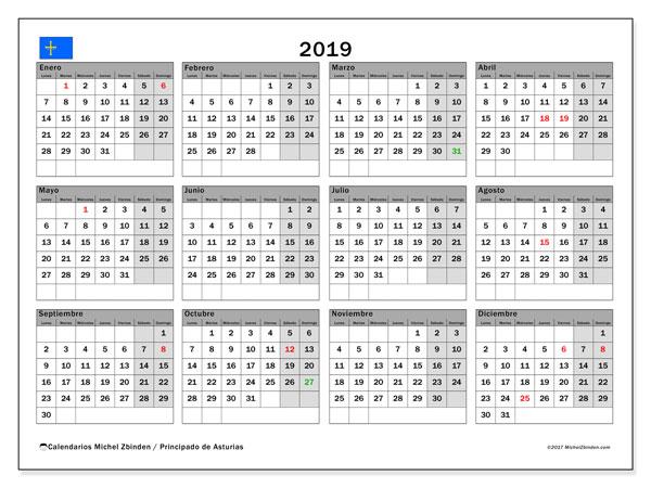 Calendario 2019, con los días festivos del Principado de Asturias. Calendario para imprimir gratis.