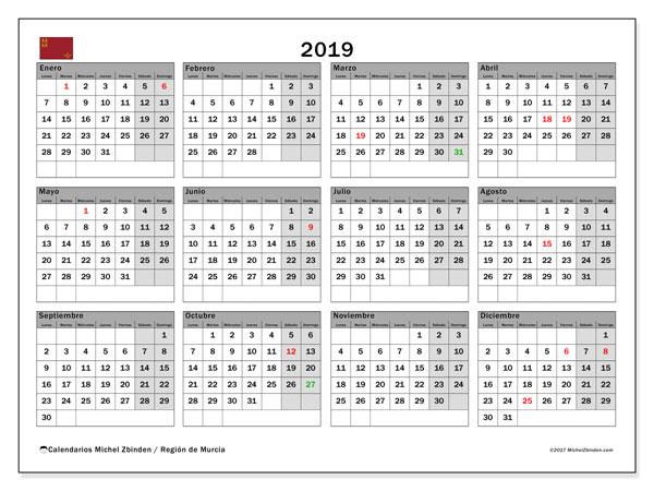 Calendario 2019, con los días festivos en la Región de Murcia. Calendario para el mes para imprimir gratis.