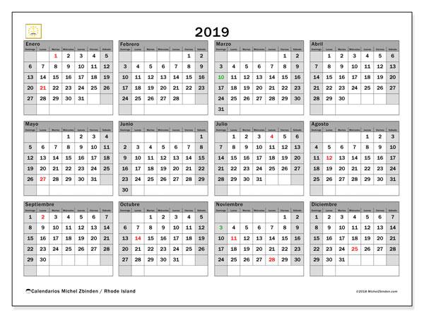 Calendario 2019, con los días feriados en Rhode Island. Almanaque para imprimir gratis.