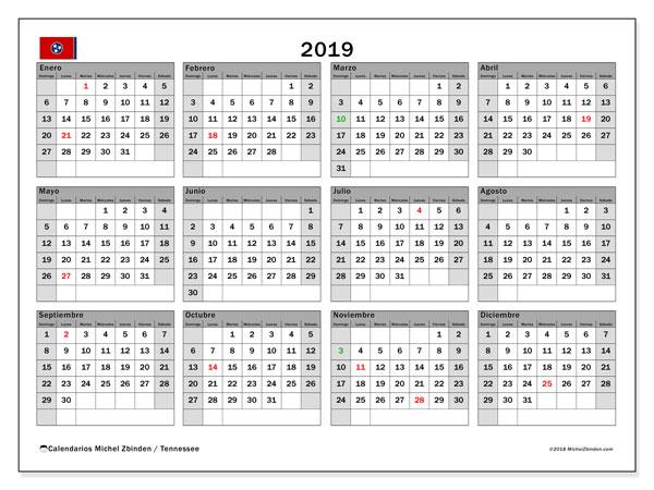 Calendario 2019, con los días feriados en Tennessee. Planificación para imprimir gratis.