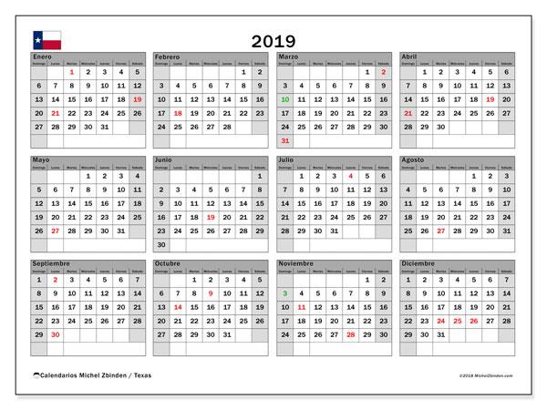 Calendario 2019 - Texas. Calendario para imprimir: fiestas oficiales.