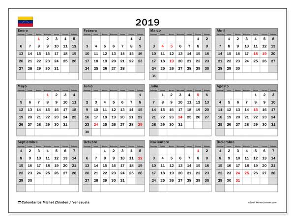 Calendario 2019, con los días feriados para Venezuela. Calendario gratuito para imprimir.