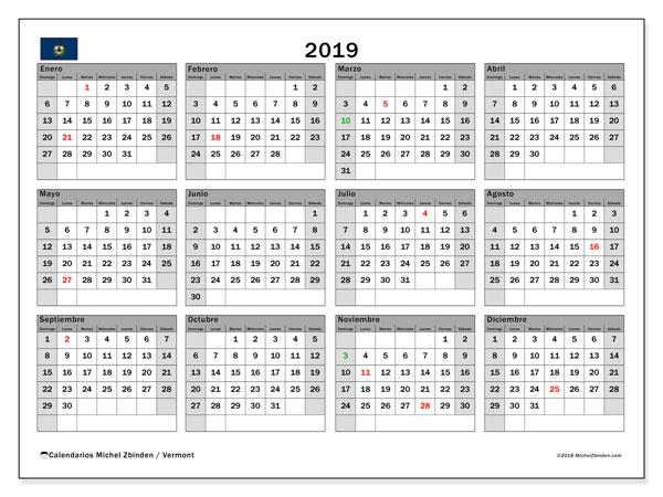 Calendario 2019, con días feriados de Vermont. Calendario para imprimir gratis con días festivos.