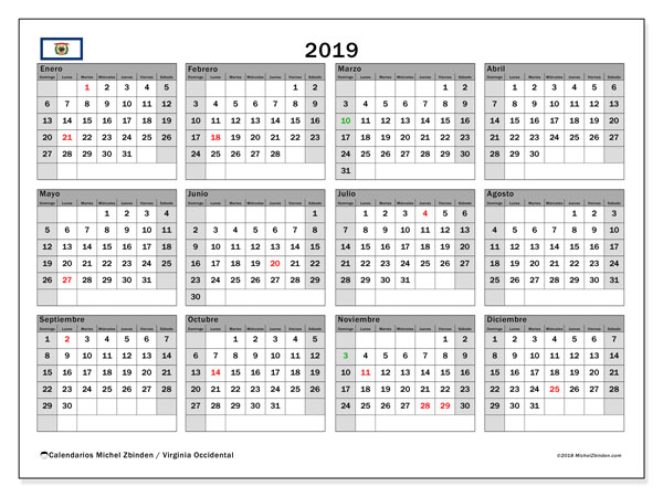 Calendario Virginia Occidental, 2019