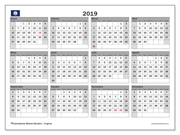 Calendario 2019, con días feriados en Virginia. Calendario vacaciones y festivos para imprimir gratis.
