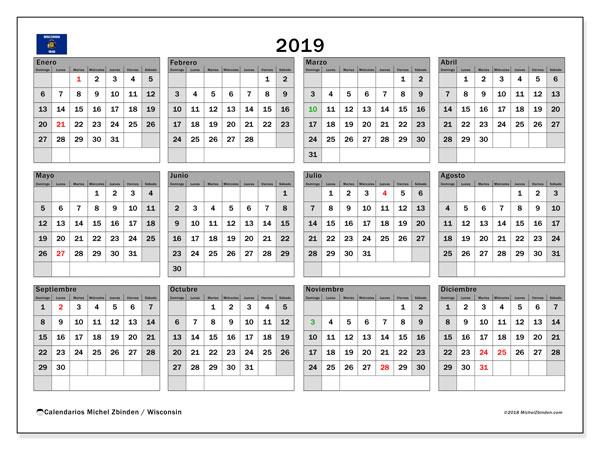 Calendario 2019, con los días feriados en Wisconsin. Planificación para imprimir gratis.
