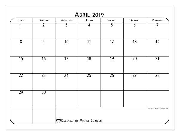 Calendario Abril 2019 51ld Michel Zbinden Es