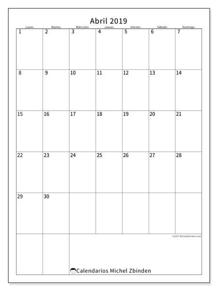 Calendario abril 2019, 52LD. Calendario mensual para imprimir gratis.