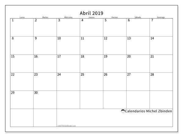 Calendario Mensual 2019 Para Imprimir.Calendario Abril 2019 53ld Michel Zbinden Es