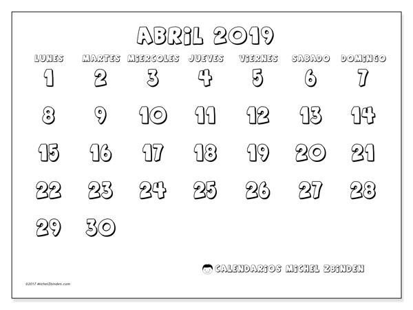 Calendario Mensual Para Imprimir Ano 2019