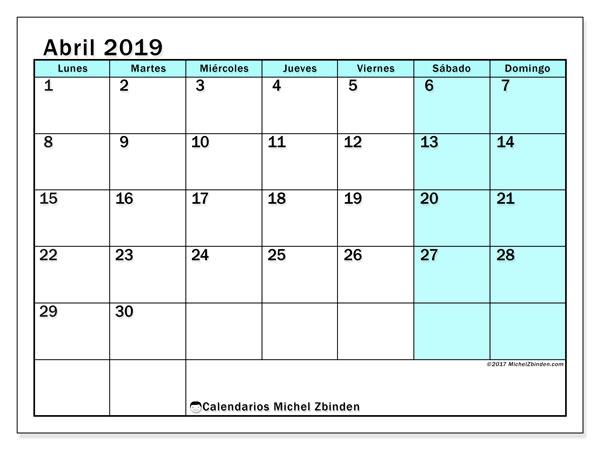 Calendario abril 2019, 59LD. Calendario imprimible gratis.
