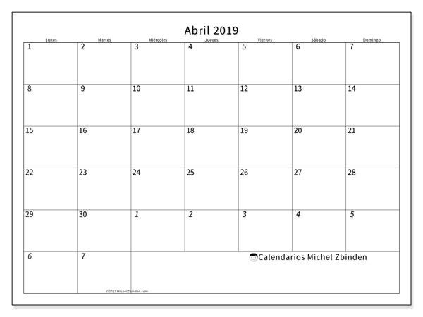 Calendario Imprimir Abril 2019.Calendario Abril 2019 70ld Michel Zbinden Es