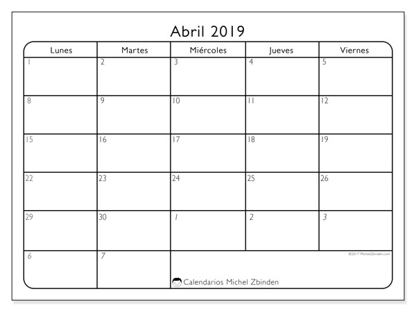 Calendario abril 2019, 74LV. Calendario imprimible gratis.