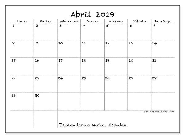 Calendario Imprimir Abril 2019.Calendario Abril 2019 77ld Michel Zbinden Es