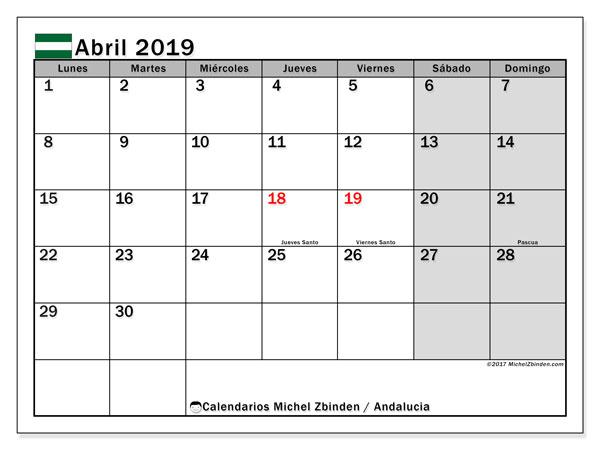 Calendario abril 2019, con los días festivos de Andalucia. Calendario imprimible gratis.
