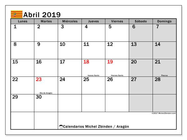 Calendario abril 2019, con los días festivos de Aragón. Calendario imprimible gratis.