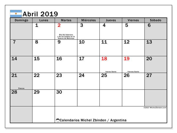 Calendario Imprimir Abril 2019.Calendario Abril 2019 Argentina Michel Zbinden Es