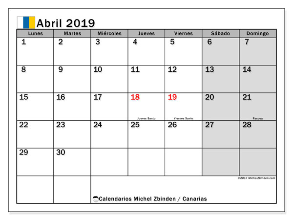 Calendario abril 2019, con los días festivos de las Islas Canarias. Calendario gratuito para imprimir.