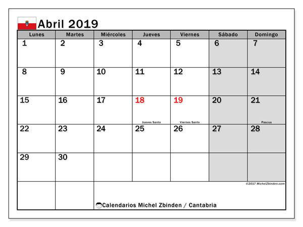 Calendario abril 2019, con los días festivos de Cantabria. Calendario imprimible gratis.