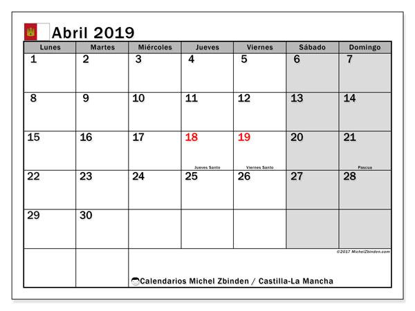 Calendario abril 2019, con los días festivos de Castilla-La Mancha. Calendario mensual para imprimir gratis.