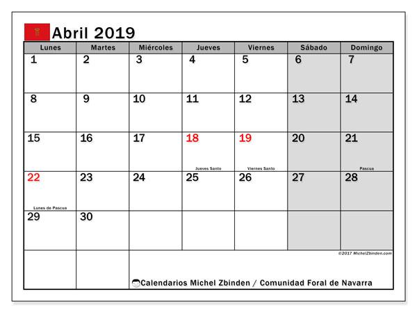 Calendario abril 2019, con días feriados de la Comunidad Foral de Navarra. Calendario para imprimir gratis con días festivos.