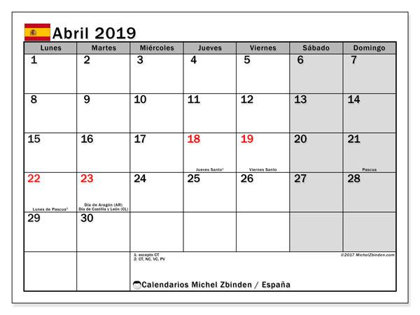 Calendario abril 2019, con los días festivos de España. Calendario mensual para imprimir gratis.